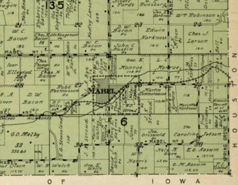 1915 Plat Book showing the Mabel Minnesota area