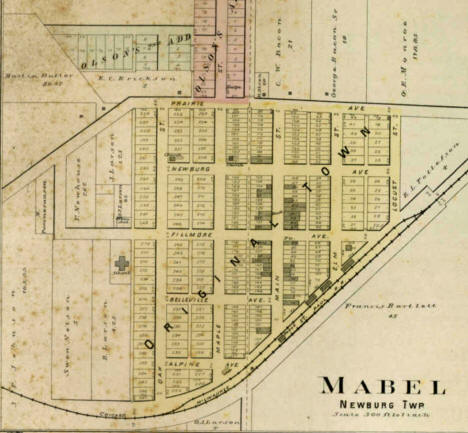 Plat map of Mabel Minnesota, 1896