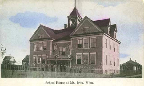Schoolhouse at Mountain Iron Minnesota, 1910