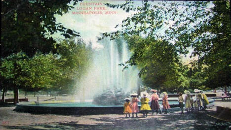 Fountain at Logan Park, Minneapolis Minnesota, 1908