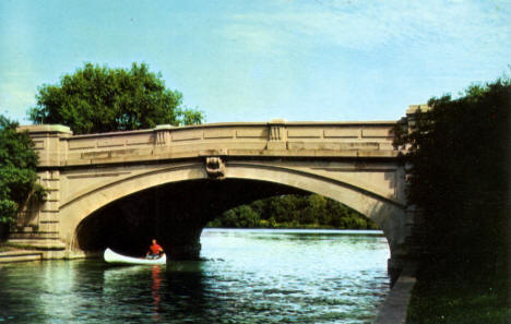 Bridge over the Lagoon between Lake of the Isles and Cedar Lake, 1960's?