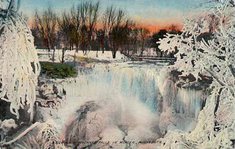 Minnehaha Falls in winter, Minneapolis Minnesota, 1912