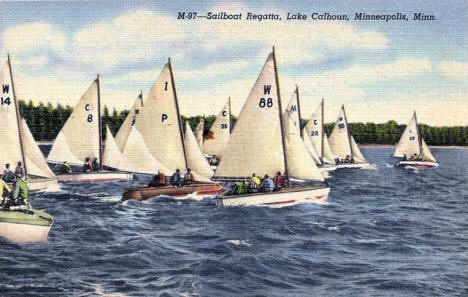 Sailboat Regatta, Lake Calhoun, Minneapolis Minnesota, 1940's