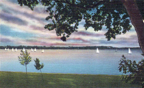 Sunset on Lake Calhoun, Minneapolis Minnesota, 1940's