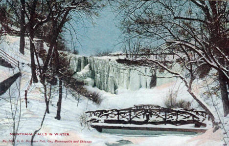 Minnehaha Falls in Winter, Minneapolis Minnesota, 1910's