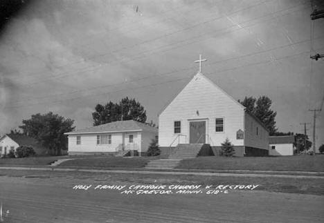 Holy Family Catholic Church, rectory, and school building, McGregor.