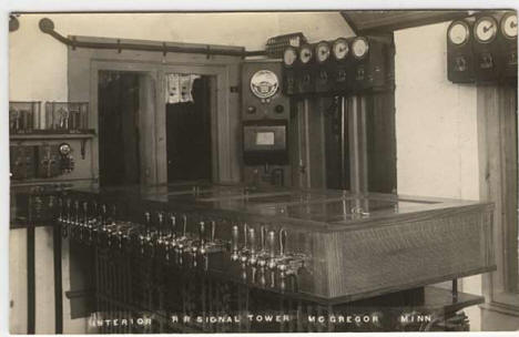 Interior of Railroad Signal Tower, McGregor Minnesota, 1915