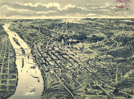 Bird's-eye view of St. Paul, looking west from Dayton's Bluff, 1905