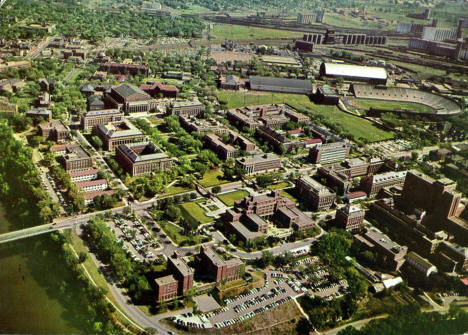 Aerial view, University of Minnesota campus, Minneapolis Minnesota, 1940's