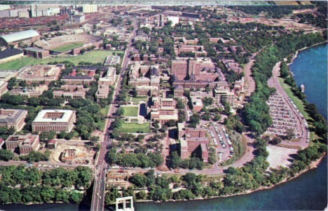 Aerial view, University of Minnesota campus, Minneapolis Minnesota, 1950's