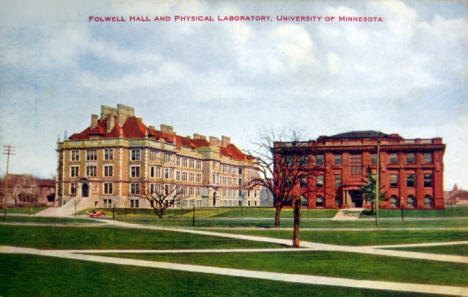 Folwell Hall and Physical Laboratory, University of Minnesota, Minneapolis Minnesota, 1910