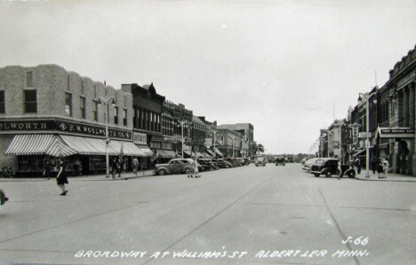 Broadway at Williams Street, Albert Lea Minnesota, 1930's