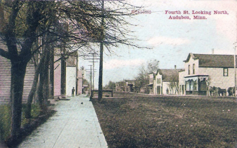 Fourth Street looking north, Audubon Minnesota, 1900's