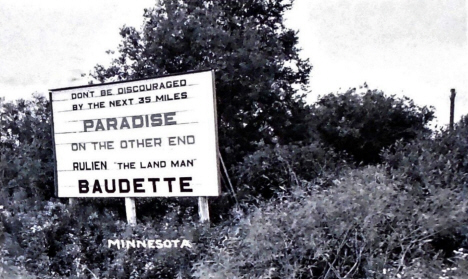 Highway sign near Baudette Minnesota, 1955