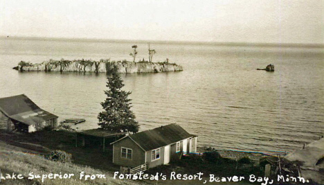 Lake Superior from Fonstead's Resort, Beaver Bay Minnesota, 1930's