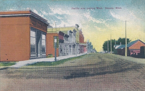 Pacific Avenue looking west, Benson Minnesota, 1909