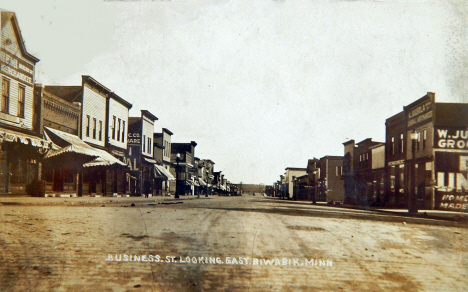 Street scene looking east, Biwabik Minnesota, 1910's