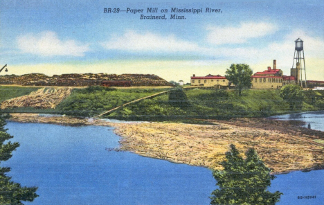 Paper Mill on Mississippi River, Brainerd Minnesota, 1946
