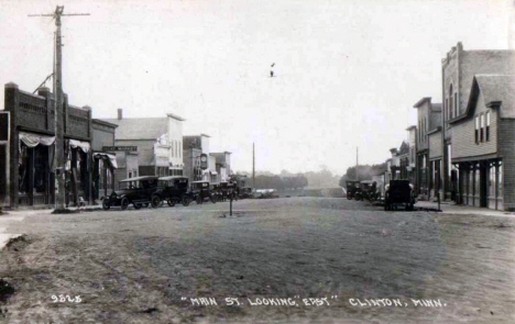 Main Street looking east, Clinton Minnesota, 1910's