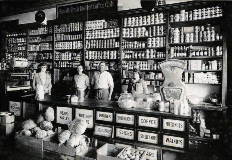 Interior of the town grocery store, Dundee Minnesota, 1920