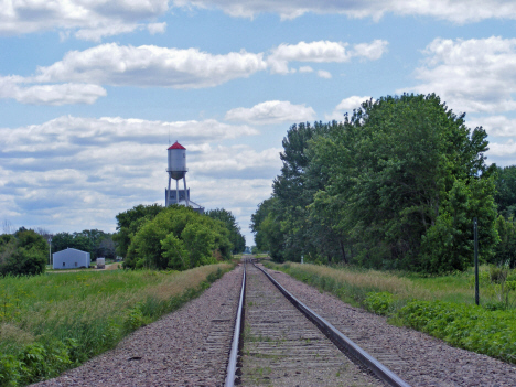 Railroad tracks and water tower, Easton Minnesota, 2014