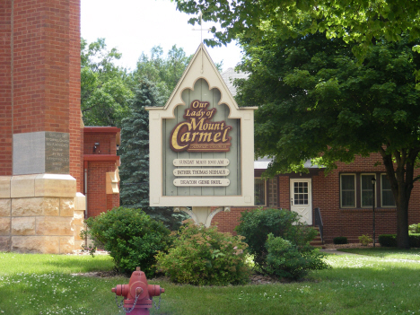 Sign at Our Lady of Mt. Carmel Catholic Church, Easton Minnesota, 2014