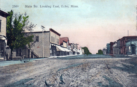 Main Street looking east, Echo Minnesota, 1910