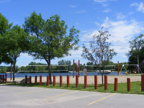 Volleyball court and beach, Elysian Minnesota, 2014
