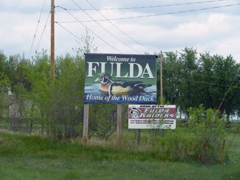 Welcome sign, Fulda Minnesota, 2014