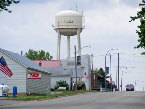 Street scene and Water Tower, Fulda Minnesota, 2014