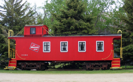 Old Milwaukee Road caboose at old depot, Fulda Minnesota, 2014