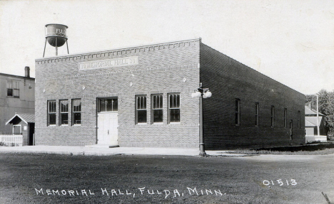Memorial Hall, Fulda Minnesota, 1930's