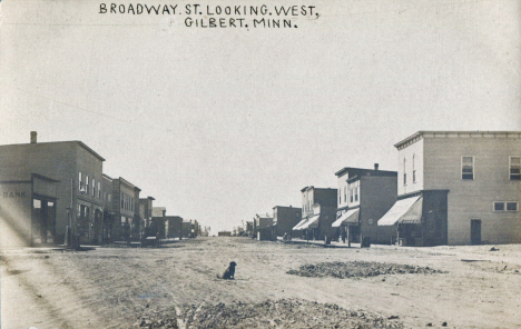 Broadway Street looking west, Gilbert Minnesota, 1910's