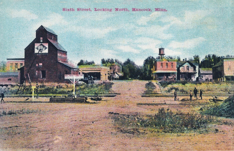 Sixth Street looking north, Hancock Minnesota, 1910