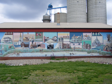 Mural depicting local history, Heron Lake Minnesota, 2014