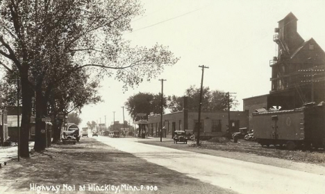 Highway 1 (later Highway 61) at Hinckley Minnesota, 1920's