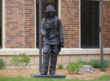 Statue of firefighter outside Fire Department, Jackson Minnesota, 2014
