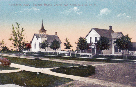 Swedish Baptist Church and residences on 9th Street, Kerkhoven Minnesota, 1911