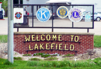 Welcome sign, Lakefield Minnesota