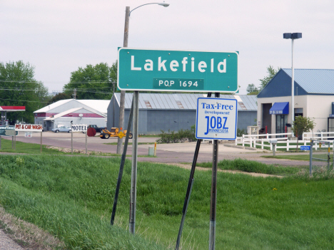 Population sign, Lakefield Minnesota, 2014