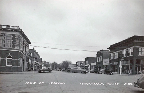 Main Street looking north, Lakefield Minnesota, 1940's