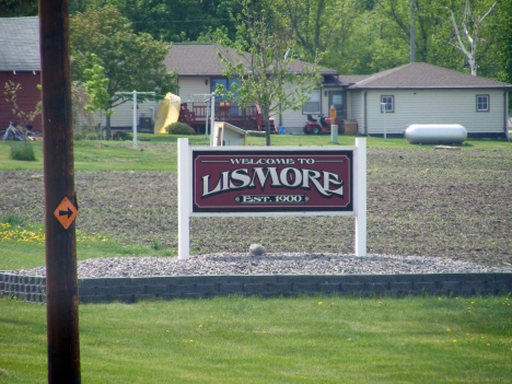 Welcome sign, Lismore Minnesota, 2014