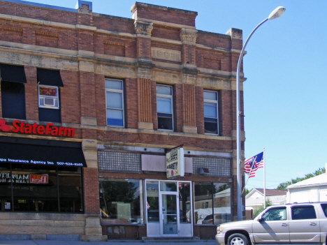 Vacant storefront in old 1908 building, Mapleton Minnesota, 2014