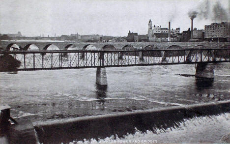 10th Avenue South and Stone Arch Bridges over the Mississippi River, Minneapolis Minnesota, 1906