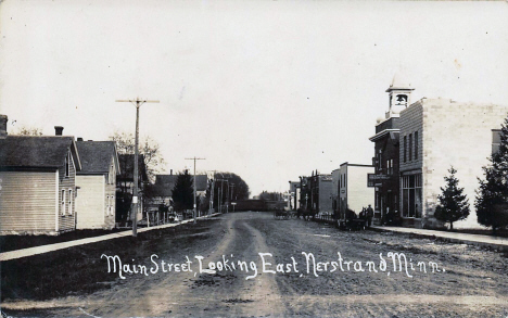 Main Street looking east, Nerstrand Minnesota, 1910's