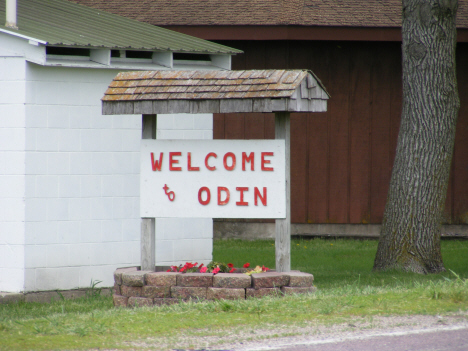 Welcome sign, Odin Minnesota, 2014