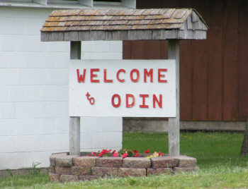 Welcome sign, Odin Minnesota