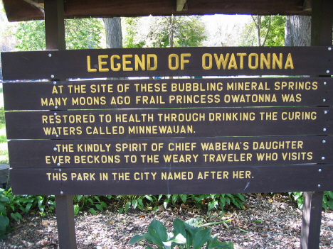 Legend of Owatonna sign, Mineral Springs Park, Owatonna Minnesota, 2005