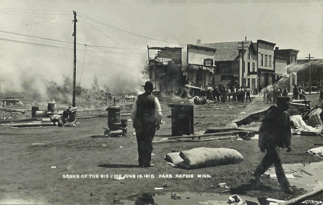 Scene of the big fire, June 18th 1910, Park Rapids Minnesota