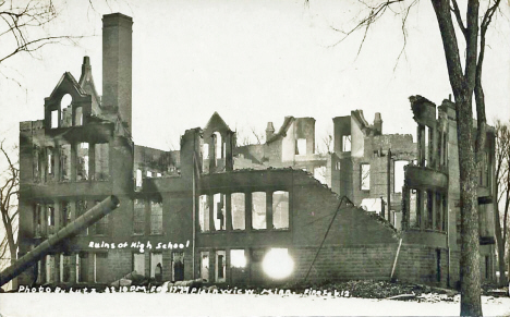 Ruins of Plainview High School after fire, Plainview Minnesota, 1924